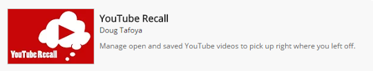 YouTube Recall on the Chrome Store